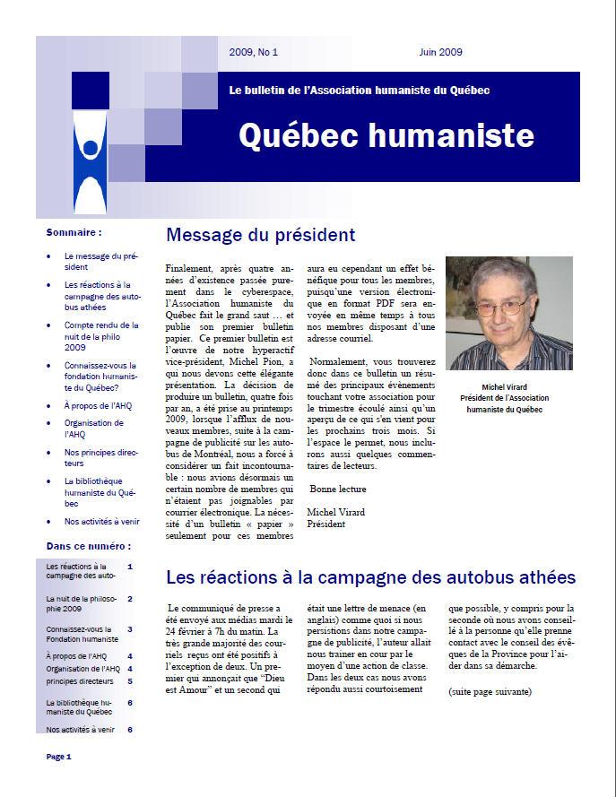 Québec humaniste été 2009