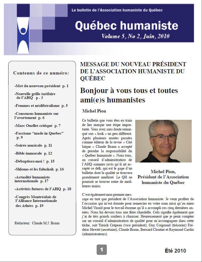 Québec humaniste été 2010