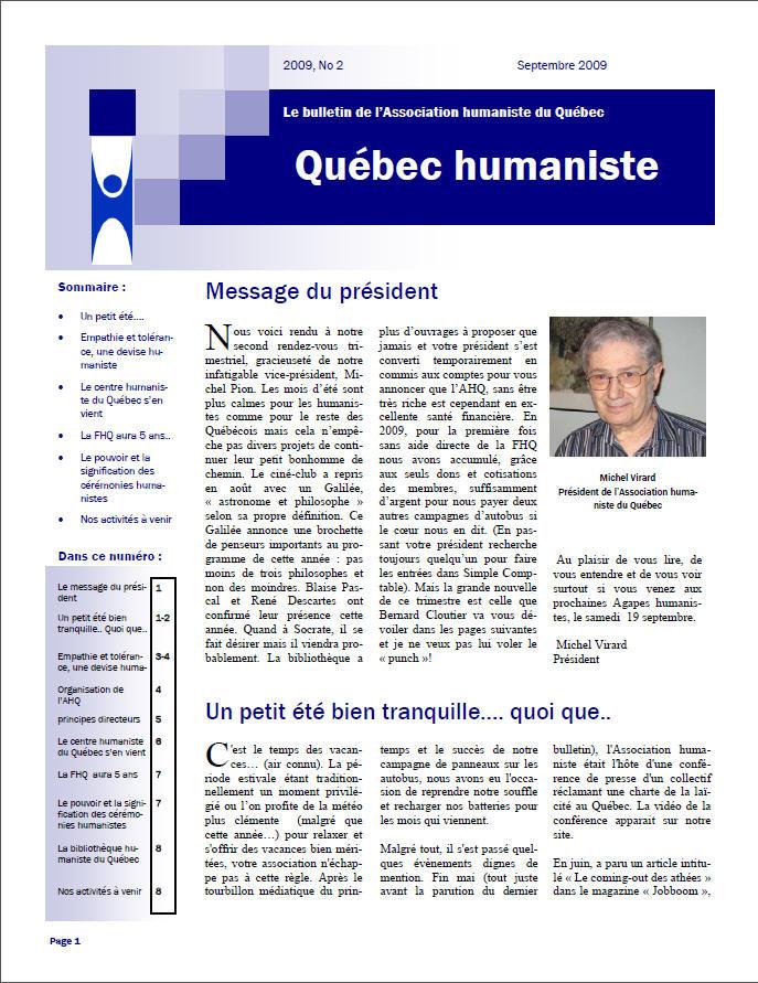 Québec humaniste automne 2009