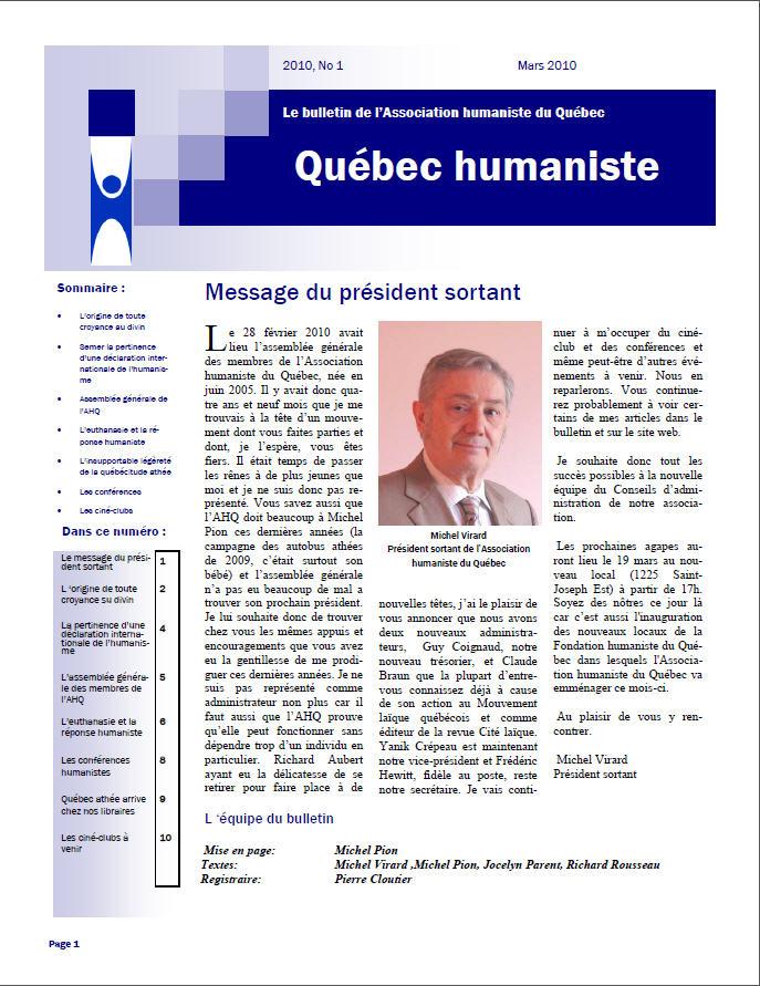 Québec humaniste printemps 2010