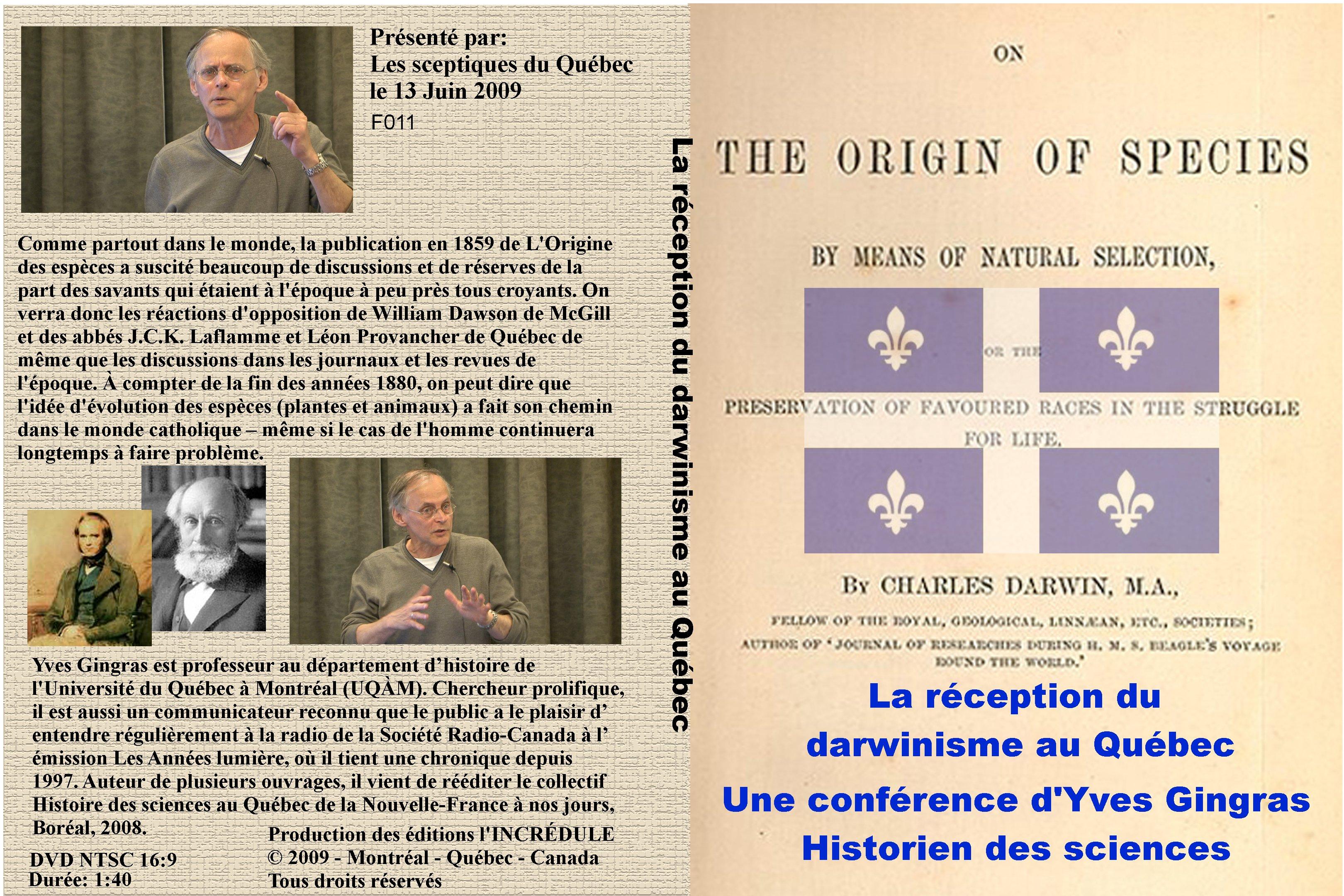 La réception du darwinisme au Québec