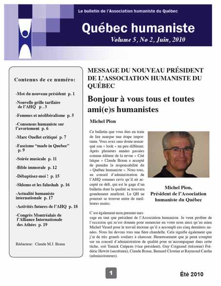 Page couverture du Québec humaniste