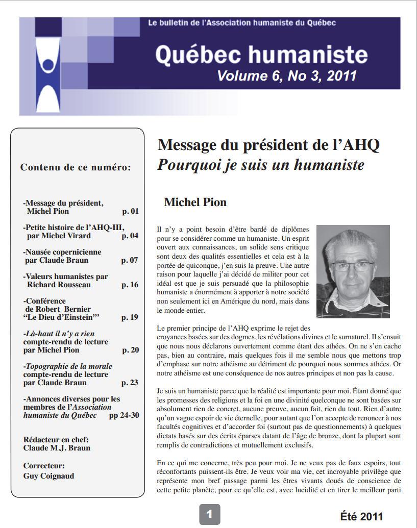 Québec humaniste été 2011