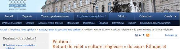 La pétition pour le retrait du volet religieux du cours ECR est maintenant en ligne sur le site de l'Assemblée nationale :