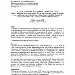 Plainte au Conseil Canadien de la Magistrature contre la juge en chef de la Cour d'appel du Québec