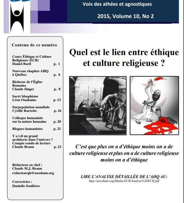 Le Colloque de l'Association humaniste du Québec sur la nature humaine (6/6/2015) a été un franc succès