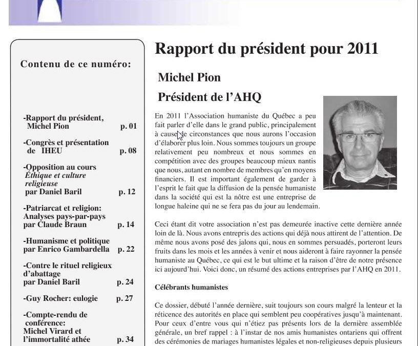 Rapport du président pour 2011