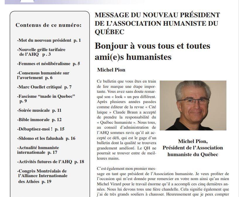 Mise à jour des grilles tarifaires de l'Association humaniste du Québec et de sa politique d'adhésion
